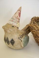 Original Paper Mache Bird of Wisdom (QueenBe1) Tags: original summer bird vintage miniature spring nest antique mixedmedia ooak artdoll wisdom papiermache sculpted papermache