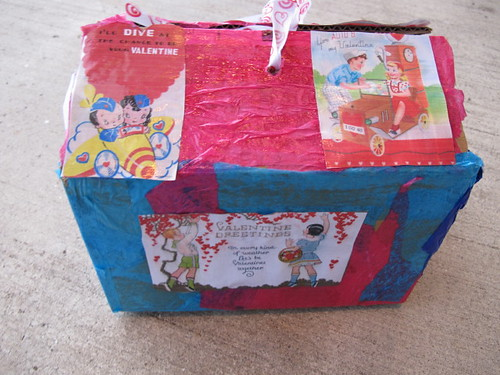 R's collaged valentine box