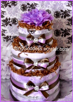 Precious Purple Diaper Cake - Shower Gift For A Baby Girl
