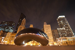 Chicago Tonight (JosephRPalmer Photography) Tags: chicago reflection skyline clouds soft dof bean milleniumpark cloudgate chicagoist widangle