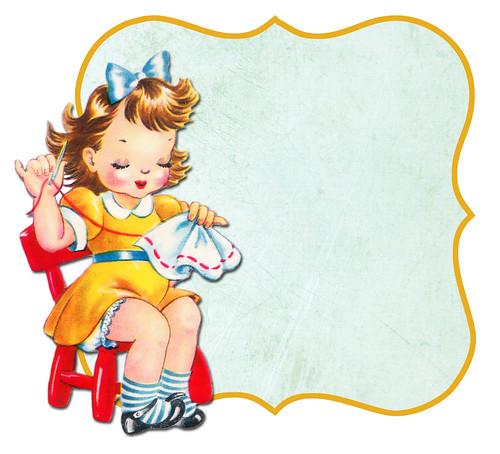 Sewing girl frame