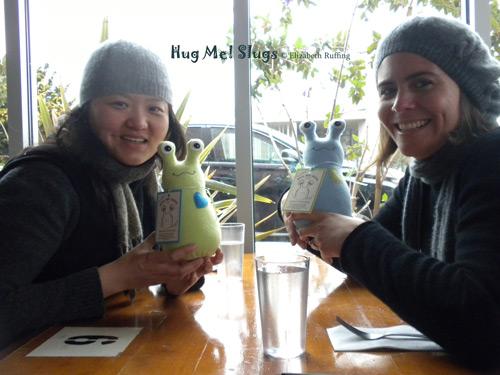 Students with their Fleece Hug Me Slugs by Elizabeth Ruffing