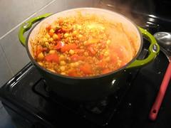 Wheatberry and chickpea paella
