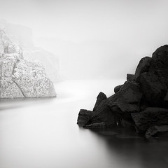 Salt and pepper (Maria Stromvik) Tags: longexposure sea cliff mist seascape water rock fog bay coast seaside sweden northsea vatten skagerrak hav bohusln waterscape dimma smgen klippa skagerak klippor neutraldensityfilter skagerack nd110 bwnd110