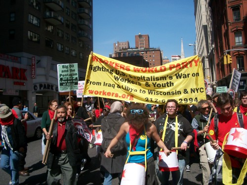 Marchers move down Broadway to Foley Square in the national anti-war demonstration on April 9, 2011. The march oppose all war led by US imperialism around the world. (Photo: Abayomi Azikiwe) by Pan-African News Wire File Photos