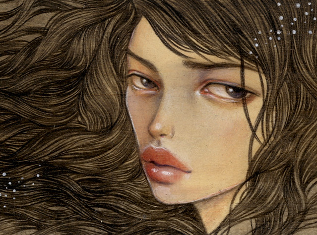 "Wish (Detail 1). 4""x6"". Acrylic & Colored Pencil on Wood (Ema plaque). © 2011."