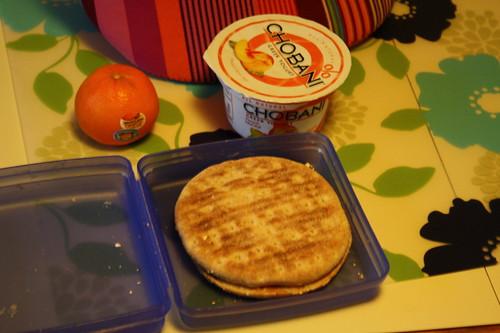 clementine, pb & j, chobani peach