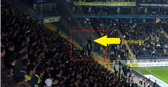 crowd conductor at a Fenerbah�e football match