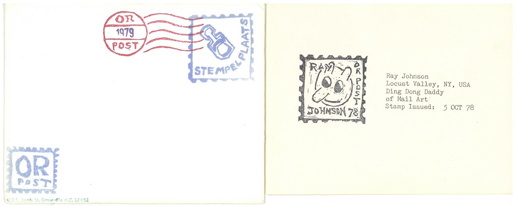 STEMPELPLAATS.  Amsterdam, 1978.  4 original rubber stamped postcards in envelope, incl. work by Ray Johnson.