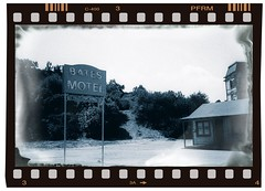 Mother What Have You Done? (Bodie Bailey) Tags: california losangeles roadtrip universalstudios batesmotel blackwhitesilver