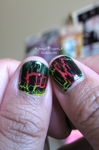 OPI Black Shatter over Sinful Colors Neon shades