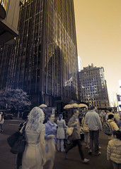 Times Square Infrared (Excaliber2013) Tags: street new york city trees people blackandwhite color buildings square lens ir taxi canoneos20d tokina flare infrared times 28 hotspot false falsecolor 1116 lifepixel 715nm