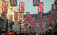 "Union Jack flags hanging in London's Regent Street to mark the Royal Wedding #""Explored"" (raghavvidya) Tags: street uk wedding england london project circus royal prince explore oxford 365 regent royalwedding raghavvidya"