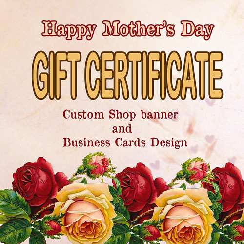 Mother's Day gift certificute custom etsy shop banner and business cards design by Hand knit Spring and Winter Scarves by Nevita