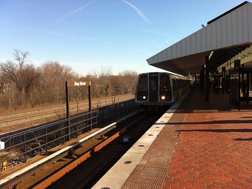 Blue Line Train Arrives At King Street Metro Station