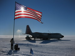 Old Glory waving at a patient LC-130