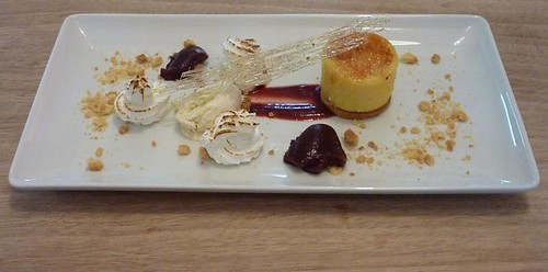 deconstructed lemon meringue tart with lemon & black pepper ice cream