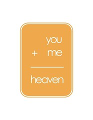 The Love Math - You Plus Me Equals Heaven - Beeswax edition (Fika's Art Box) Tags: blue white art love yellow modern print poster word typography funny colorful bright text math romantic plus rectangle beeswax
