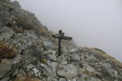 北穂高岳の南陵の分岐