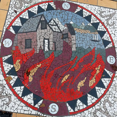 The Great Fire (judy_and_ed) Tags: vancouver mosaic sidewalk squaredcircle guessed victorysquare penderstreet guesswherevancouver thegreatfire hamiltonstreet hipbotunsquare pointalaidh rossparknet