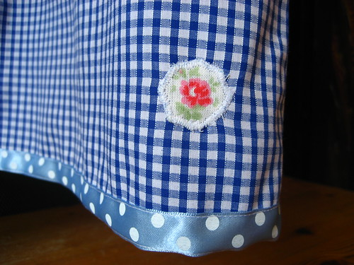 Flower detail on Alana's school dress