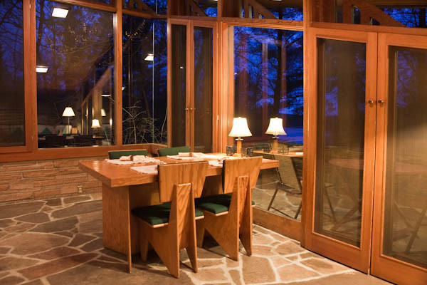 Interior, Dining Area of Seth Peterson Cottage, Frank Lloyd Wright architect
