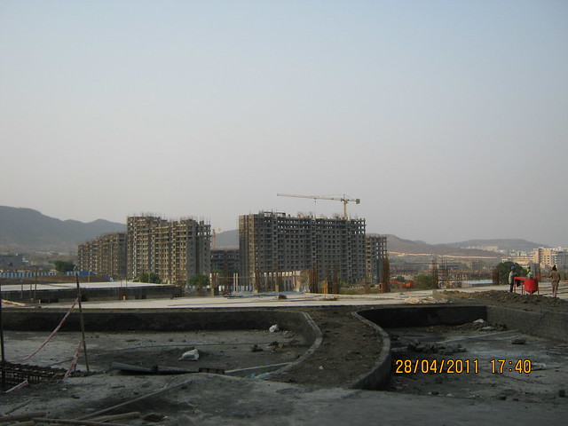 Podium and Sparklet - Megapolis Smart Homes 1 - view from the lobby of B Tower in Sangria at Megapolis Hinjewadi Phase 3, Pune