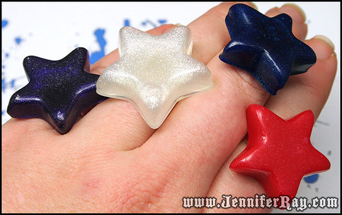 Resin Star Rings on my Fingers to show size