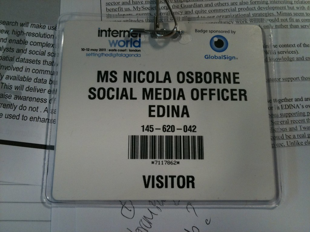Image of the front of the Internet World 2011 conference badge