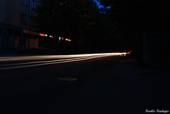 Midnight traffic (KadKarlis) Tags: road city light people blur cars way town movement traffic path midnight blaze beams