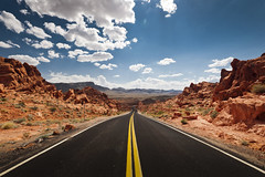 Valley of Fire (songallery) Tags: overton usa rock stone cloud sky road red curve sunny contrast valleyoffire landscape nature nevada vanishing explore explored landscapes d3x 旅遊 旅遊攝影 美國