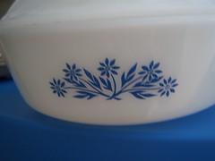 Glasbake Casserole (The Anchored Kitchen) Tags: glasbake milkglass cornflowerblue