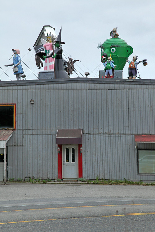 figures on roof of metal company, Juneau, Alaska