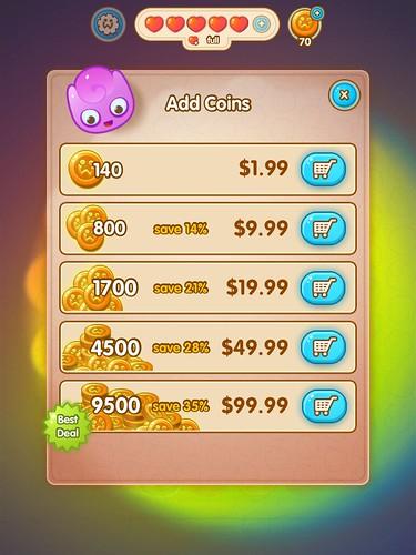 Jelly Splash Virtual currency Bank: screenshots, UI