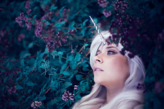 The last unicorn (Lichon photography) Tags: ladyamalthea cosplay nomadicgoldfish color flower flora f potrait face eye blue tones colorful white hair
