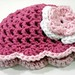 3 to 6 Months Baby Girl Summer Hat Hot Pink with Flower and Scalloped Edge by Peanuts Creations