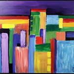 "<b>Colorful Kansas City</b><br/> Richard Scherubel (LC '63) (Acrylic)<a href=""http://farm6.static.flickr.com/5068/5571204523_4a0437cfc1_o.jpg"" title=""High res"">∝</a>"