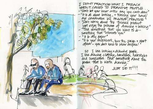 110330 Crows Nest Plaza - forcing myself to draw people!
