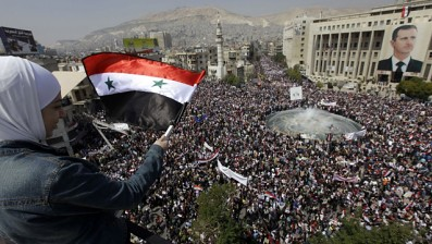 Large demonstrations in support of the Syrian government of President Bashar Al-Assad in Damascus, the capital, on March 29, 2011. The president addressed parliament on March 30 and denounced the foreign plot against the country. by Pan-African News Wire File Photos