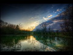 Pond front (Explore FP) (Kemoauc) Tags: sunset sky cloud reflection pond nikon sonnenuntergang sundown himmel hdr frhling topaz d90 hemmingen nikond90 hdrterrorist kemoauc aboveandbeyondlevel1