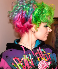 Day 126 of 365 - Year 2 (wisely-chosen) Tags: selfportrait me hoodie rainbow april canon50mmf18 pinkhair bluehair greenhair updo cameraraw ironfist 2011 365days lavenderhair naturallycurlyhair zebracorn canonspeedlite430exii manicpanicredpassion manicpanicultraviolet manicpanicshockingblue manicpanicelectricbanana curlformers adobephotoshopcs5extended herbalessencestouslemesoftlyconditioner proclaimarganoilhairoiltreatment itsa10miraclehairmask