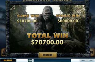 free King Kong slot bonus win