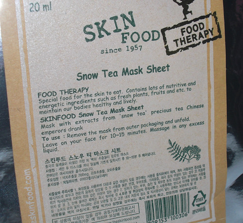 Skinfood's Snow Tea Mask Sheet