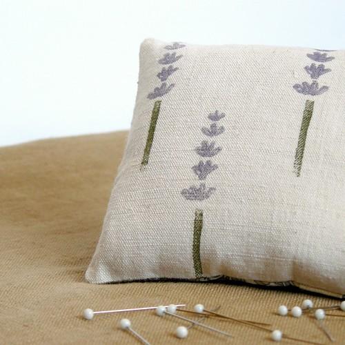 hand-stamped lavender & Liberty pincushion