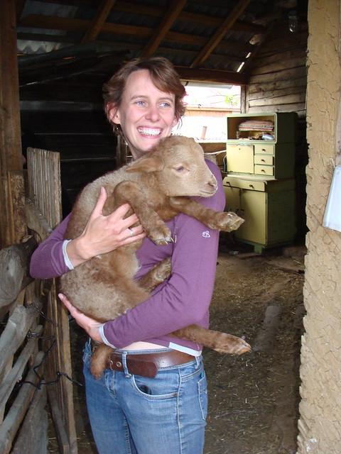 Jenny with lamb