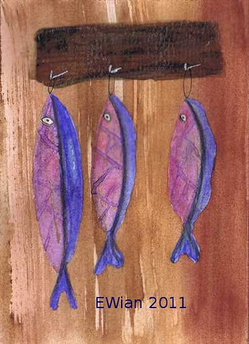 three little fishes hanging in a row 2
