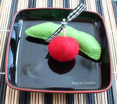Felt food edamame and cherry tomato