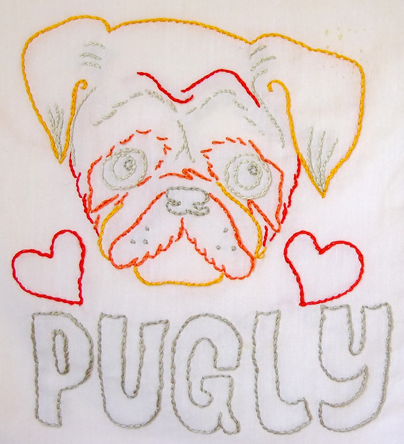 Pug embroidery