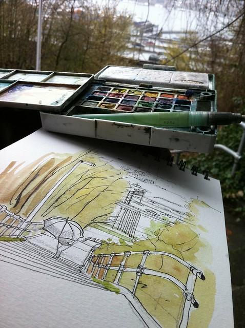 Sketching in the rain