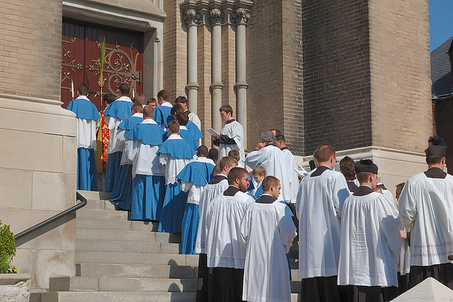 Saint Francis de Sales Oratory, in Saint Louis, Missouri, USA - Palm Sunday procession, halted at door of church